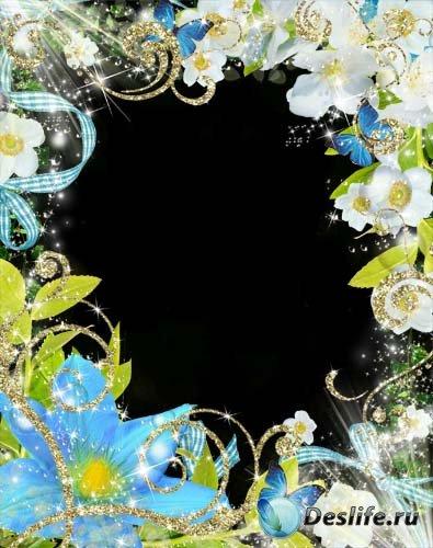 Рамка для фотошопа –  Небесный цветок