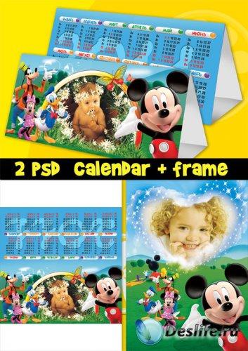 Календарь+Рамка для фотошопа - Герои Диснея