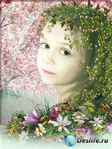 Детский шаблон для фото - Весна