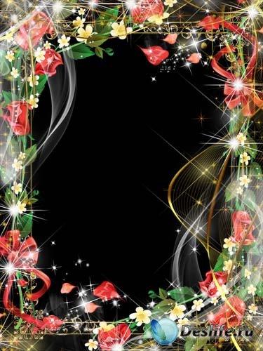Рамка для фотошопа – Веточка красной розы