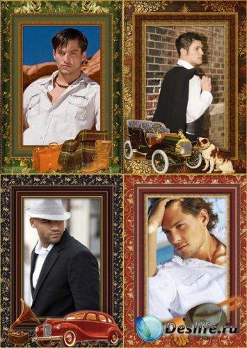 Рамки для фотошопа мужские в стиле винтаж
