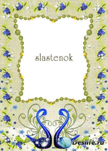 Свадебная рамка для фото - Синие лебеди