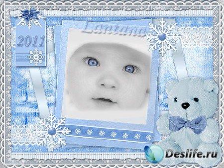 Детская рамочка для фотошопа - Моя первая зима