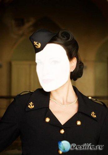 Женский костюм для Фотошопа - Морской офицер