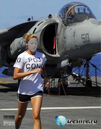 Женский костюм для фотошопа - Утренний бег на авианосце!