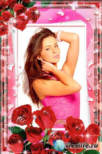 Рамка для фотошопа - Розы и бриллианты