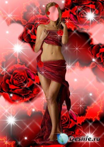 Костюм женский для фотошопа - Нимфа из роз