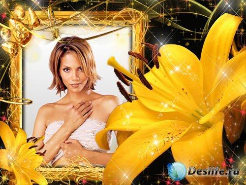 Рамка для фотошопа – Жёлтая лилия