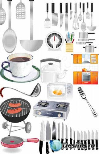 Кухонные предметы в векторе