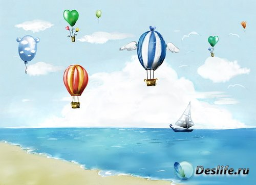 PSD Исходники - Рисованное Море, воздушные шары, Кораблик