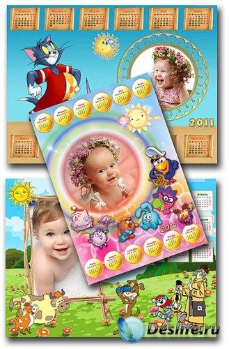 Детские фоторамки календари - Любимые мультики