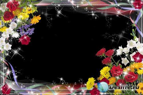 Рамка для фотошопа - Розы и полевые цветы