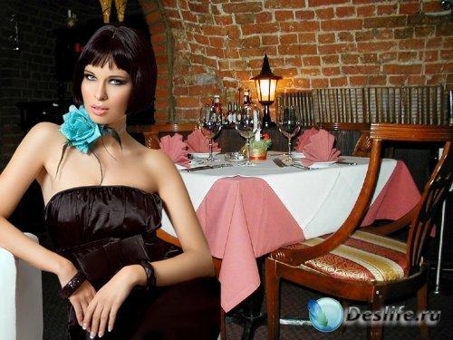 Женский костюм для фотошопа - В ресторане