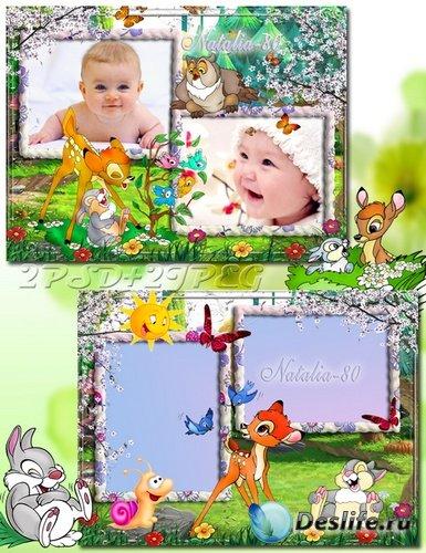 Яркие детские рамочки для оформления фото с Бемби