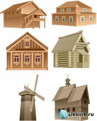 Деревянные дома в векторе