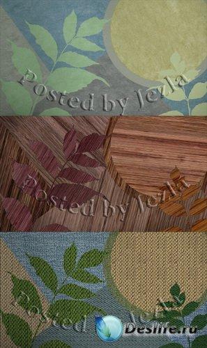 PSD Исходники - Листья (Аппликация, Вязаное, Деревянная мозаика)