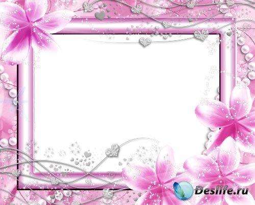 Рамка для фотошопа – Розовая нежность
