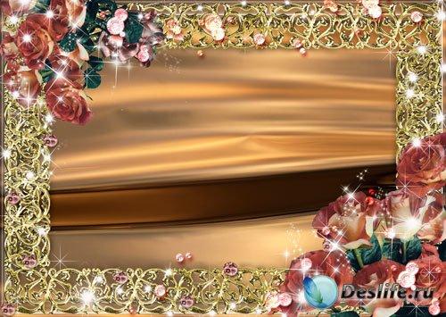 Рамка для фото - Розы и драгоценные камни