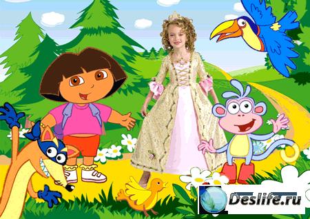 Детский шаблон для фото – Даша-следопыт