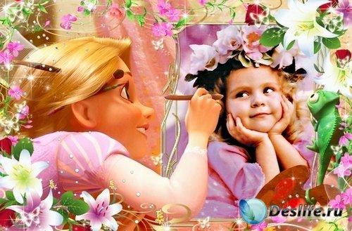 Яркая детская рамочка для фото с героями м/ф Рапунцель 3