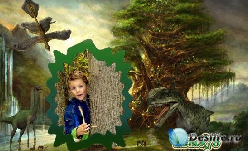 Рамка для фотошопа - Прогулка с динозаврами