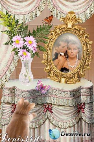 Романтическая рамка для фотошоп - Фотография на столе