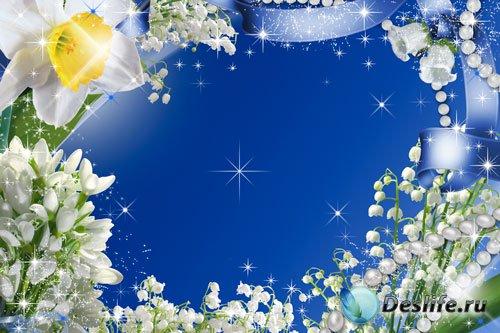 Рамка для фотошопа - Весенние цветы и жемчуг