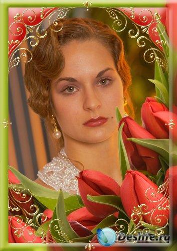 Рамка для фотошопа - Тюльпаны
