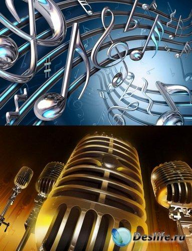 PSD Исходники - Микрофон, Скрипичный ключ, Музыкальные ноты