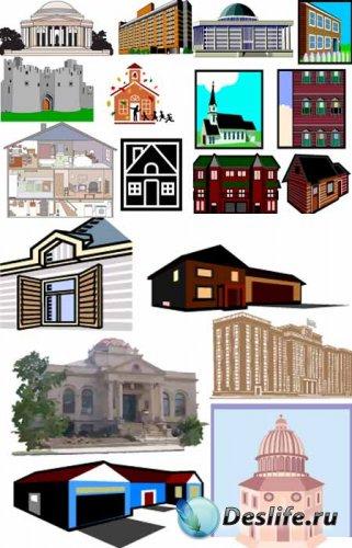 Дома, крепости, церкви  в векторе