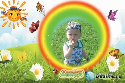Детская рамочка для фото - На лужайке