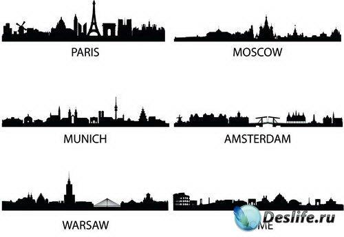 Силуэты городов (City Silhouettes Vector)