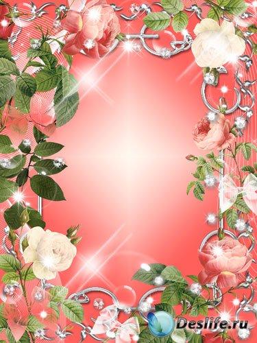Рамка для фото - Нежно розовые розы