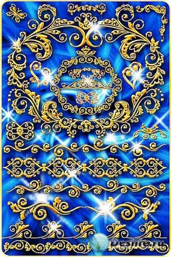 Фигурные рамки и элементы декора в золотом стиле
