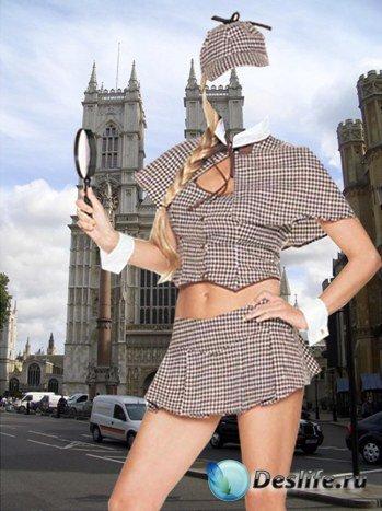 Женский костюм для фотошопа - Блондинка-детектв