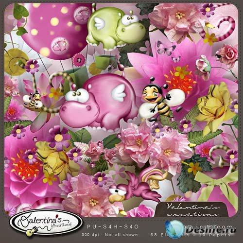 Детский скрап-набор - Розовый бегемот
