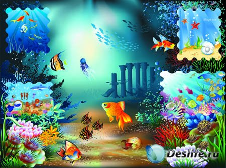 Мир векторные фоны подводный мир