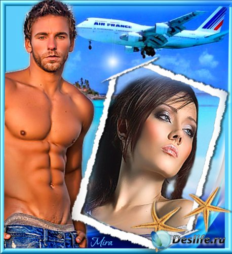 Рамочка для фотошопа - Небо Самолет Девушка