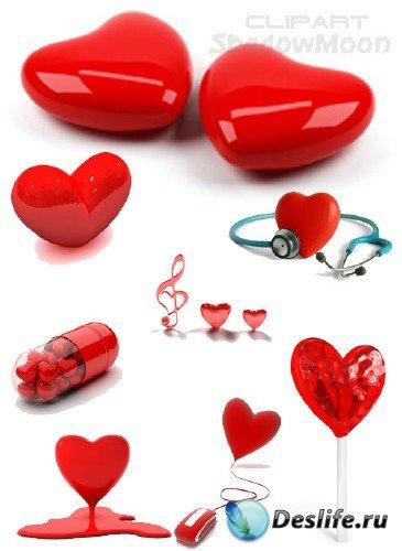 Сердечки и сердца на белом фоне