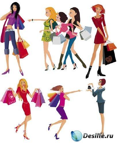 Девушки и покупки в векторе