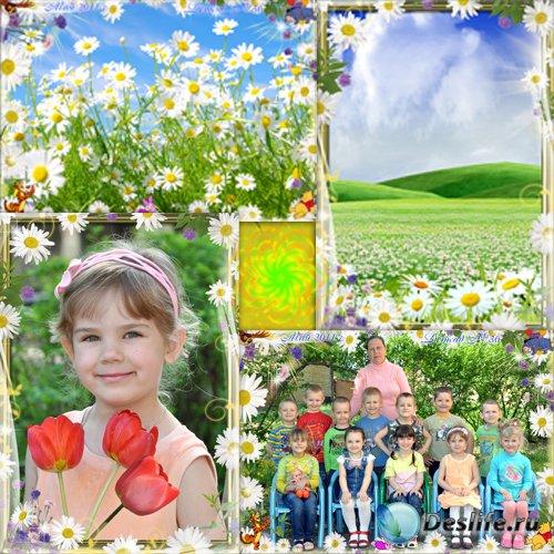 Рамки для фотошопа - Ромашки для детского сада