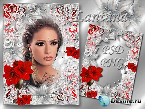 Рамка для фотошопа - Лилии красные в серебряном тумане