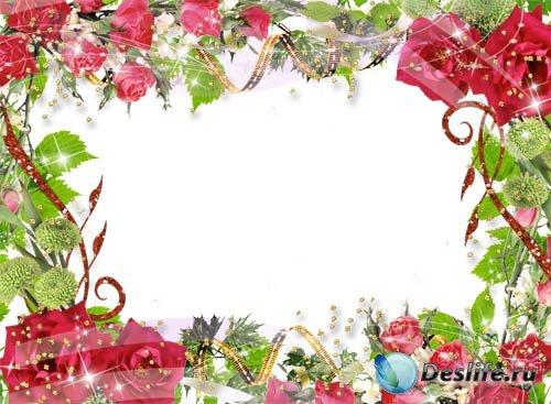 Рамка для фотошопа – Букет из роз