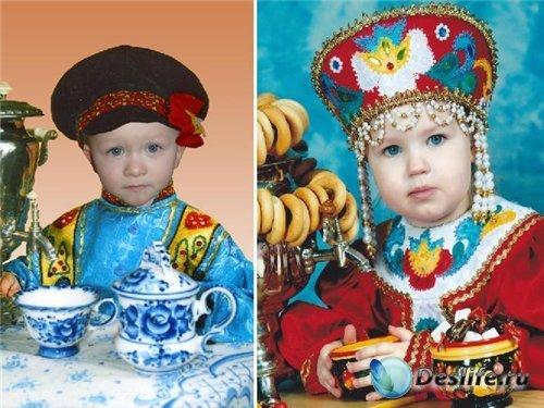Детские костюмы для фотошопа - У самовара