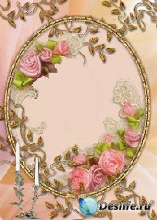 Нежная свадебная рамка в розовых тонах