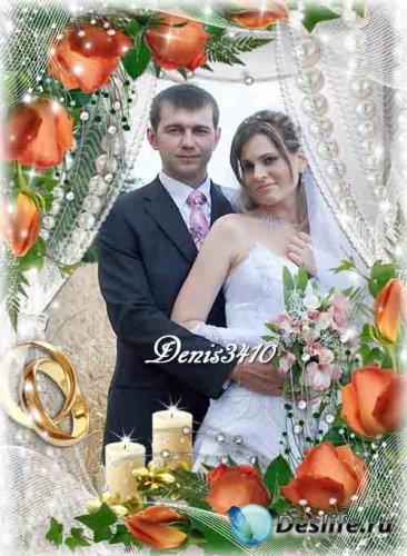 Свадебная рамка для фотошопа - Две свечи и розы