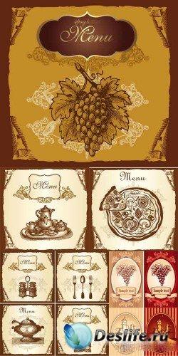 Векторная коллекция винтажных меню