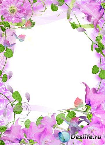 Рамка для фотошопа –  Розовый колокольчик