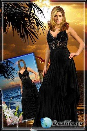 Женский костюм для фотошопа - На закате у моря