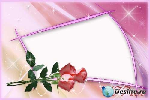 Женская цветочная рамка - Нежные розы